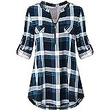 Odosalii Donne Camicette Manica a 3/4 Camicia Scozzese Scollo V Camicia Blusa Casuale Orlo Irregolare Zip Donna Maglietta