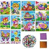 YuChiSX 12 Pièces Kit Artisanal de mosaïques collantes pour Enfants, Kits D'artisanat pour Filles, Autocollant à Pois Autocol