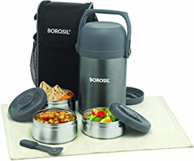 Borosil Hydra Hot-N-Fresh Stainless Steel Lunch Box Set, 4-Pieces, Silver