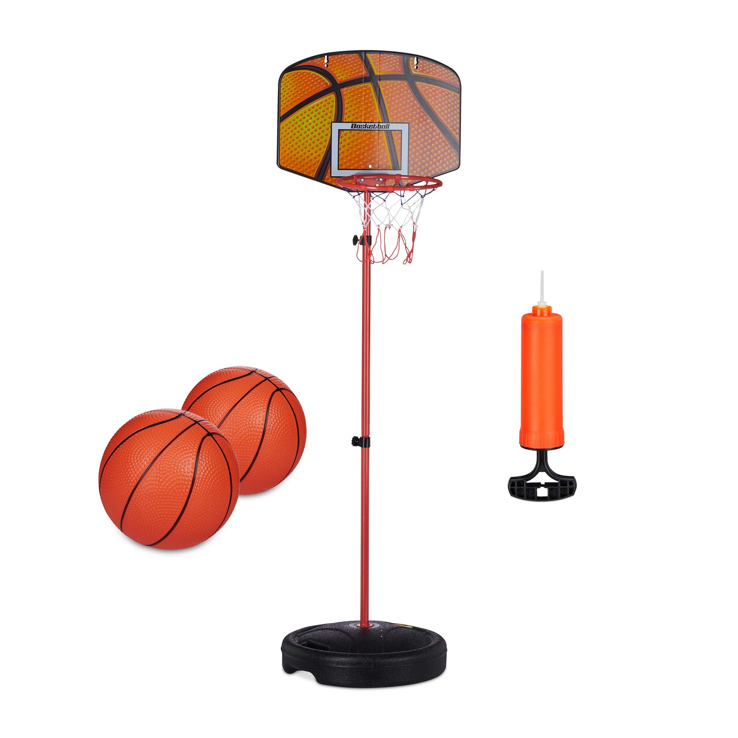 Relaxdays Canasta Baloncesto de 133 cm, Set con 2 Pelotas Básquet e Inflador, para Niños, Metal-Plástico, Multicolor