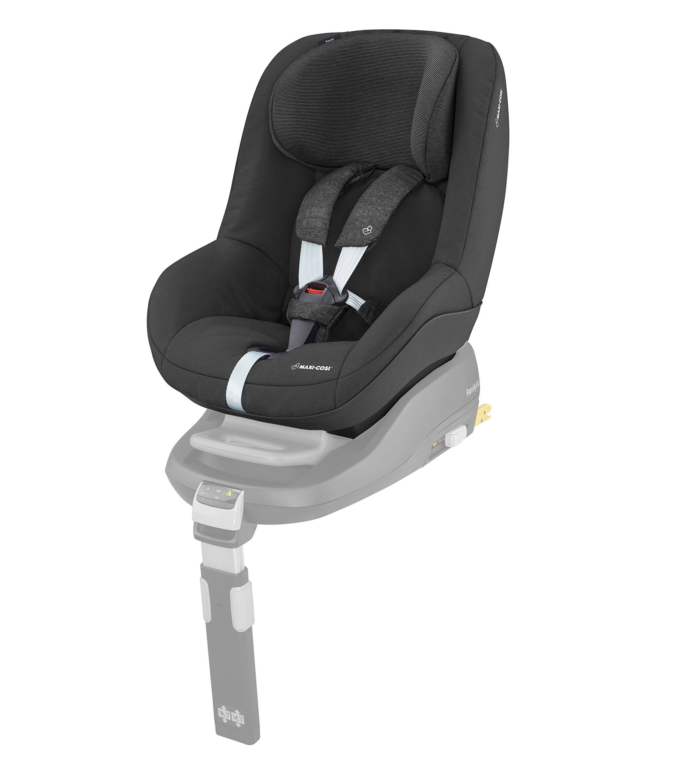 Maxi-Cosi Pearl Toddler Car Seat Group 1, ISOFIX Car Seat, Compact, , 9 Months - 4 Years, 9-18 kg, Nomad Black Maxi-Cosi Interactive visual and audible feedback when the pearl is correctly installed with the maxi-cosi family fix base in the car Spring-loaded, stay open harness to make buckling up your toddler easier as the harness stays out of the way Simultaneous harness & headrest adjustment can be operated with one-hand 1