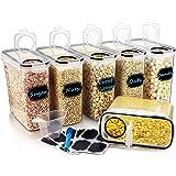 Wildone Ensemble de 6récipients hermétiques avec contenance de 4L et couvercle anti-fuites noir pour céréales et aliments s