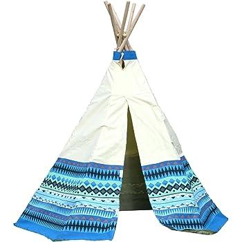 Garden Games Limited 3042 Tente De Jardin, Aztec Wigwam Avec Cadre En Bois Et Toile De Coton Naturelles, Bleu