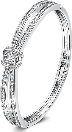 George Smith Charm Silber Armband Damen Rosegold Armband Armreif Mit Kristall Schnalle Design Antiallergisch Geburtstag Geschenkbox Bekleidung