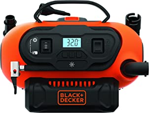 Black & Decker BDCINF18N-QS 11.0 Bar Kompressor/Luftpumpe (mögliche Stromquelle: 12V-/230V-Anschluss oder 18V Akku, 160PSI, für Reifen, Bälle, Rollstühle, mit 2 Betriebsarten und Abpump-Modus)
