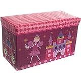 Bieco Boîte de Rangement Princesse pour Enfants avec Siège Rembourré | Coffret à Jouets avec Couvercle pour Garçons et Filles