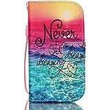 COWX Leder Hülle für Samsung Galaxy S3 Mini / I8190 / S3Mini 8190 Schutzhülle Handyhülle Taschen Schalen Handy Tasche Flip Wallet Stil S3 Mini case Lederhülle für Samsung Galaxy S3 Mini Tasche