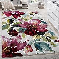 Tapis Moderne Effet Toile Tapis Motif Fleurs Coloré Mélange De Couleurs Multicolore, Dimension:80x150 cm