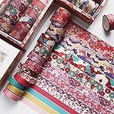 12PCS Washi Tape Set Fleur de Cerisier Washi Masking Tape Adhésif Ruban Adhésif Décoratif Papier Tape pour Journal Scrapbooki