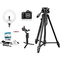 Nikon D850 45.7MP DSLR Camera Body only with 64 GB SD Card, Vlogging Bundle with Digitek 550LW Tripod, Digitek 18 inch Ring Light, Boya BYM1 lavalier Microphone, DJI Ronin SC Gimbal