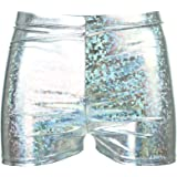 Mens Shiny Shorts HOT Pants Gold Silver Mermaid Festival Party Fancy Dress