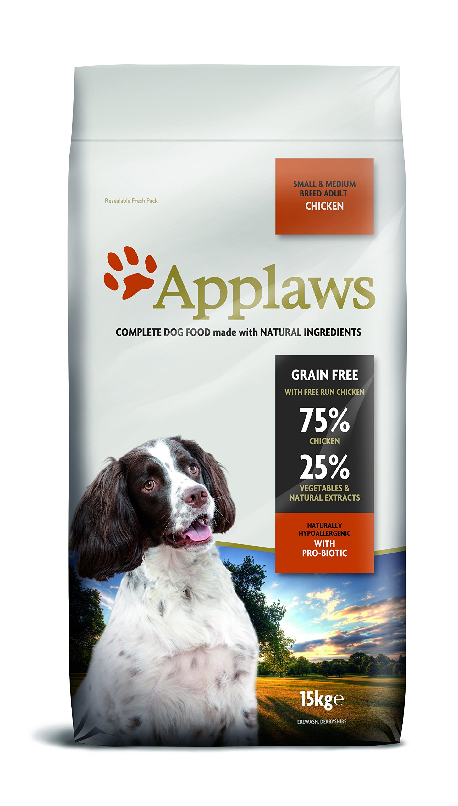 Applaws Natural, Complete Dry Dog 15kg Small/Medium breed Adult Chicken with Lamb