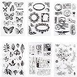 6pcs Tampons Transparents, Papillons Transparent Modèle de Sceau, Thèmes de Fleurs Silicone Timbres Claires pour l'artisanat,