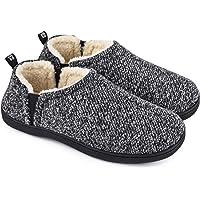 Snug Leaves Men's Fuzzy Wool Felt Memory Foam Slippers Anti-Slip Warm Faux Sherpa House Shoes with Dual Side Elastic…