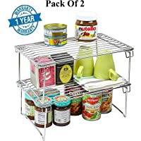 Callas Stackable Kitchen Cabinet Organizer, Chrome (Pack of 2)