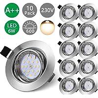 Bojim Lot x10 Spots LED Encastrables Orientables Blanc Chaud GU10 600lm 6W Eqv.54W Lampe de plafond 2800K Plafonnier…