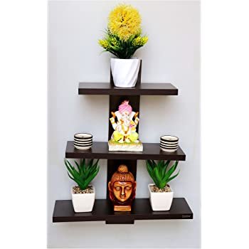 Captiver Batten Decorative Wall Mounted Shelf Set Of 3 Wenge / Display Decor Wooden Decoration Dining Dark Storage Multipurpose Shelves
