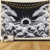 Dremisland Mandala Wall Tapestry Great Wave Kanagawa Tapestry with Sunset Tapestry Black and White Ocean Tapestry Wall…