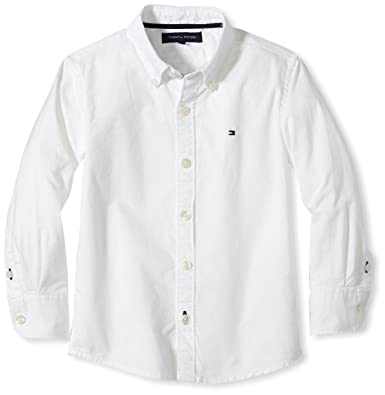 15decbe01 Tommy Hilfiger Girl's Solid Oxford Shirt L/S Long Sleeve Shirt:  Amazon.co.uk: Clothing