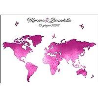 Tableau de mariage - pannello personalizzato tema viaggio con mondo acquerello disponibile in tutti i colori