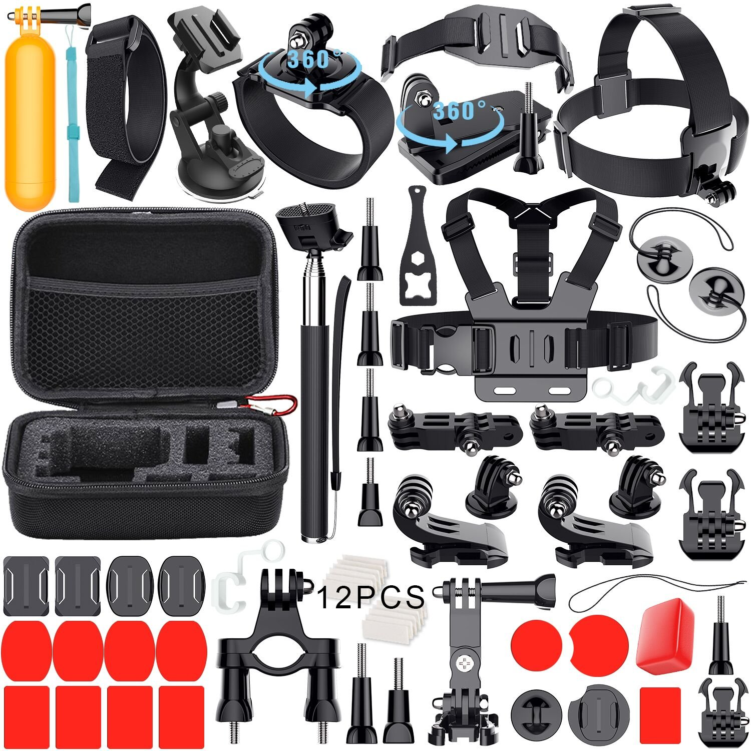Leknes 54 in 1 Accessori Kit per GoPro Hero 5 4 3+ 3 2 1 Black Silver and SJCAM SJ4000 SJ5000 SJ6000