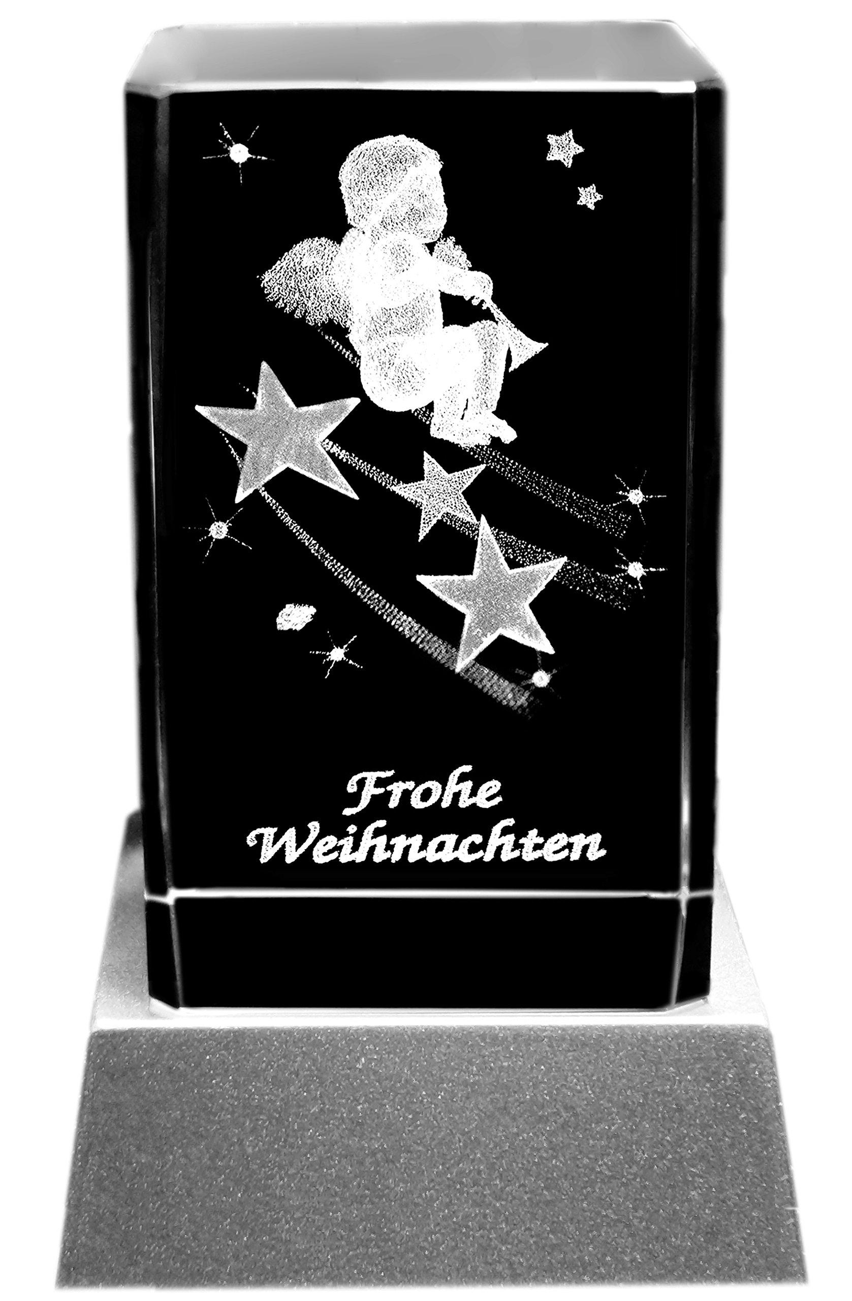 Kaltner Präsente Stimmungslicht LED Kerze/Kristall Glasblock / 3D-Laser-Gravur Engel mit Trompete Schriftzug Frohe…