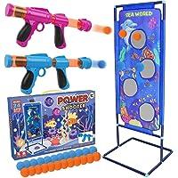 STOTOY Jeu de Tir,Jeu de Tir pour Enfants avec 2 Pistolets à Air Comprimé Ball Popper et Cible de Tir Debout et 24…