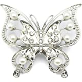 Elixir77UK Spilla A Farfalla Color Argento con Cristalli e Perle Finte