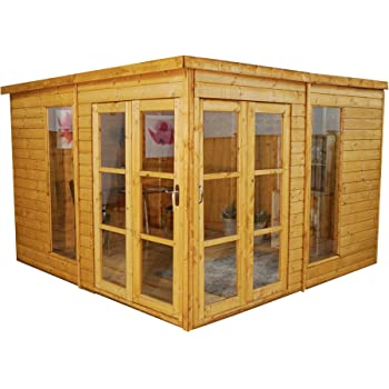 WALTONS EST. 1878 10x10 Wooden Contemporary Garden Summerhouse, Shiplap Construction - Dip Treated with 10 year guarantee. Includes Multiple Doors, Flat Roof, Floor & Roof Felt and Styrene Safety Windows (10 x 10 / 10Ft x 10Ft) 3-5 Day Delivery