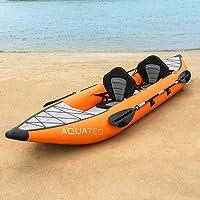 AQUATEC Kayak Gonflable Kayak Gonflable de Peche en Mer ou sur Rivière   Kayak Canoë Gonflable 1/2 Places avec Pagaies…