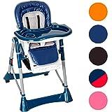 TecTake Confort Chaise Haute de Bébé Pliable - diverses couleurs au choix (Bleu)