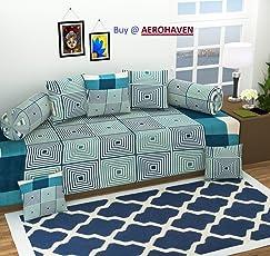Aerohaven 3D Printed 8Pc Diwan Set(1 Single Bedsheet, 2 Bolster Covers, 5 Cushion Covers)