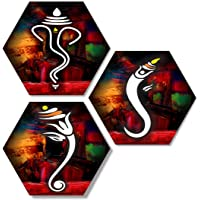 SAF Set of 3 Hexagon Ganesha MDF Board UV Textured Painting 17 Inch X 17 Inch SANFHXS7500
