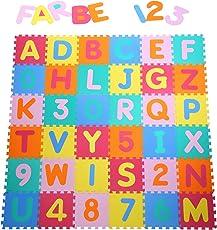 Yorbay 36 Pezzi da Gioco Tappetini puzzle Tappeto Puzzle Stuoia Morbida EVA - 26 Lettere dell'alfabeto e numeri da 0 a 9 per Bambini Colorato 32x32cm