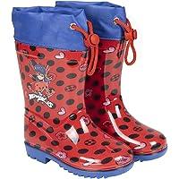 PERLETTI Stivaletti Pioggia Bambina Ladybug Rossi - Stivali Impermeabili Miraculous Fantasia Pois - Scarponcini in PVC…