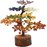 Swasstik Crystal Products 7 Chakra Natural 500 Beads Gemstone Bonsai Tree Figurine, Golden Wire, 10-12 Inches For Positivity,