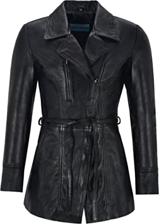 Smart Range Leather Co Ltd. Sarina Ladies Trench in Vera Pelle Black Mid Length Classic Giacche (Sarina)