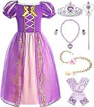 ReliBeauty Mädchen Kleid Puffärmel Prinzessin Kostüm,lila