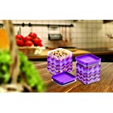 Asian Kitchen King Airtight Plastic Storage Containers, 1.3 Litre, Set of 2, Purple