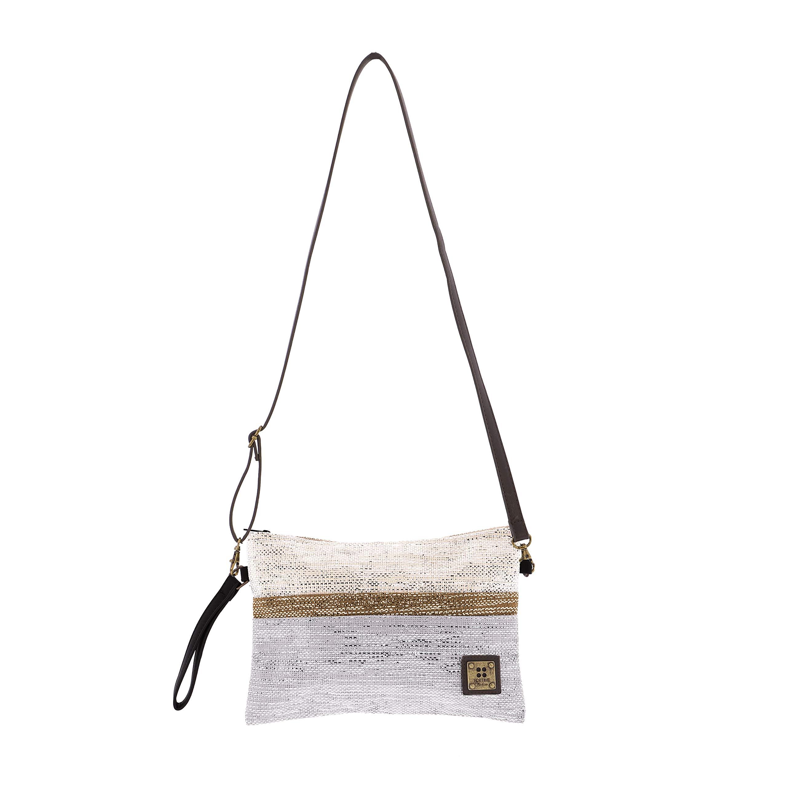 81xy3ckJGIL - For Time Bolso de Mano con Destellos metálicos, Rafia Mujer, Gris, 30x20x1 cm