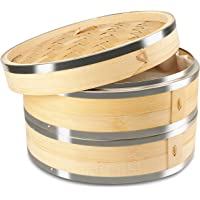 KYONANO Cuit Vapeur Bambou, 2 étages, Vapeur de Bambou 21 cm avec Couvercle + 10 Chiffons en Coton, Panier Vapeur en…