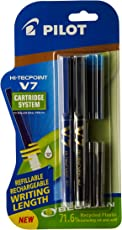 Pilot V7 Hi-tecpoint Pen with cartridge system - 1 Blue, 1 Black Pen, 2 Blue cartridges, 2 Black cartridges