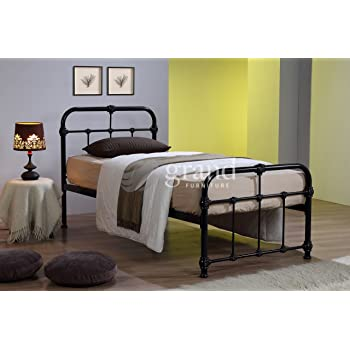 ROYALE COMFORT Mandy Double Metal Bed Frame Black Hospital Style Small Double  King Size Beds (