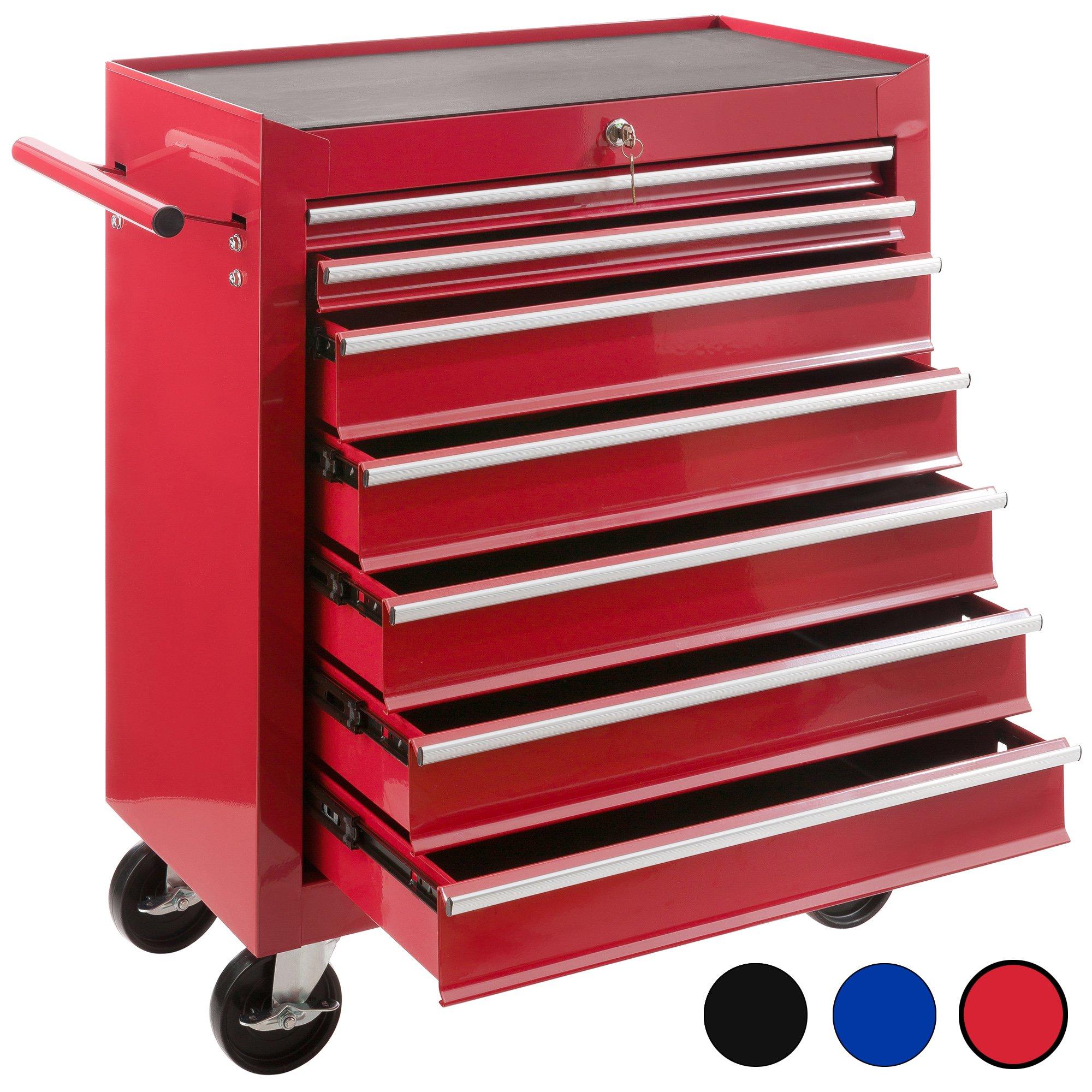 Arebos Werkstattwagen mit 7 Fächer, abschließbar, Antirutschmatten, rot