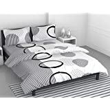 Loreto – A Quality Linen Brand 144 TC 100% Cotton Double Bedsheet with 2 Pillow Covers - White & Grey