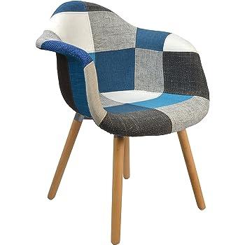 Ts Ideen 1x Chaise Design Patchwork Pate Coloree De Bois Pour Salle