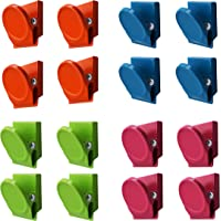 Magnetpro 16 Pieces Multi Colour Magnetic Metal Clips, Refrigerator Whiteboard Wall Magnetic Memo Note Clip