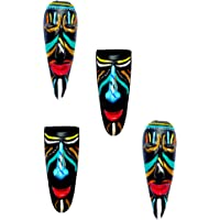 New Life Terracotta Home Decorative Wall Hanging Tribal Mask Combo of 4 Pieces (10 cm, Multicolour)