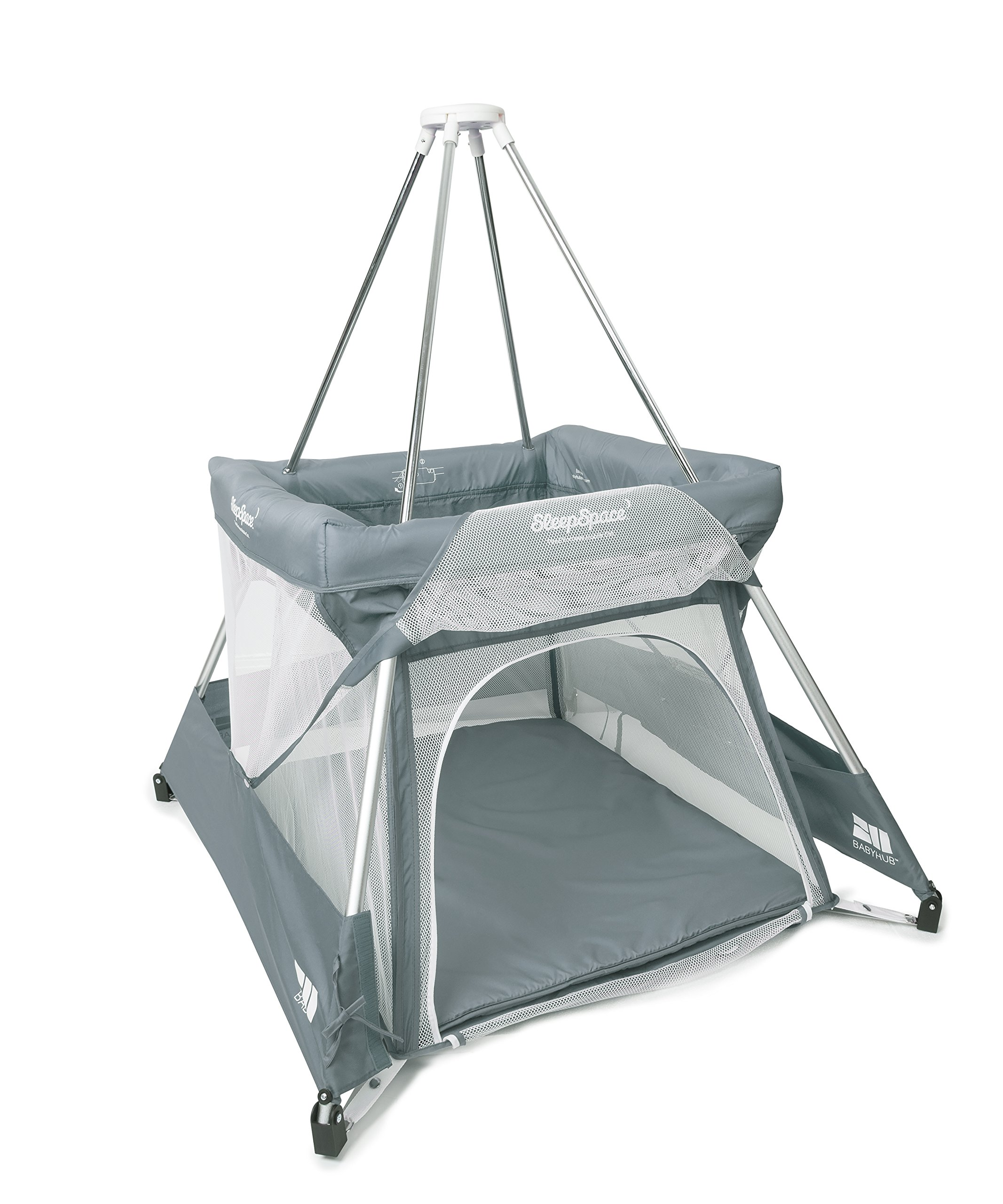 BabyHub SleepSpace Travel Cot with Mosquito Net, Grey BabyHub Three cots in one; use as a travel cot, mosquito proof space and reuse as a play tepee Includes extra mosquito net cover that can be securely in place Can be set up and moved even while holding a baby 7