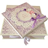 Crack of Dawn Crafts Half Size Baby Girl Scrapbook - Pink and Lavender